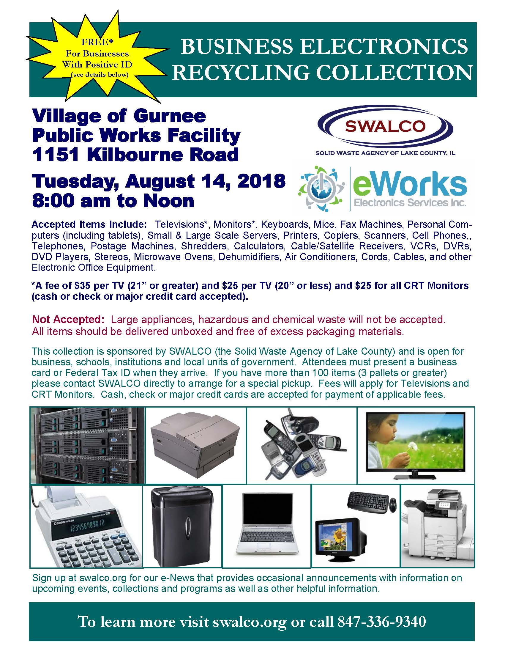 Electronics E-Works Village of Gurnee August 14 2018