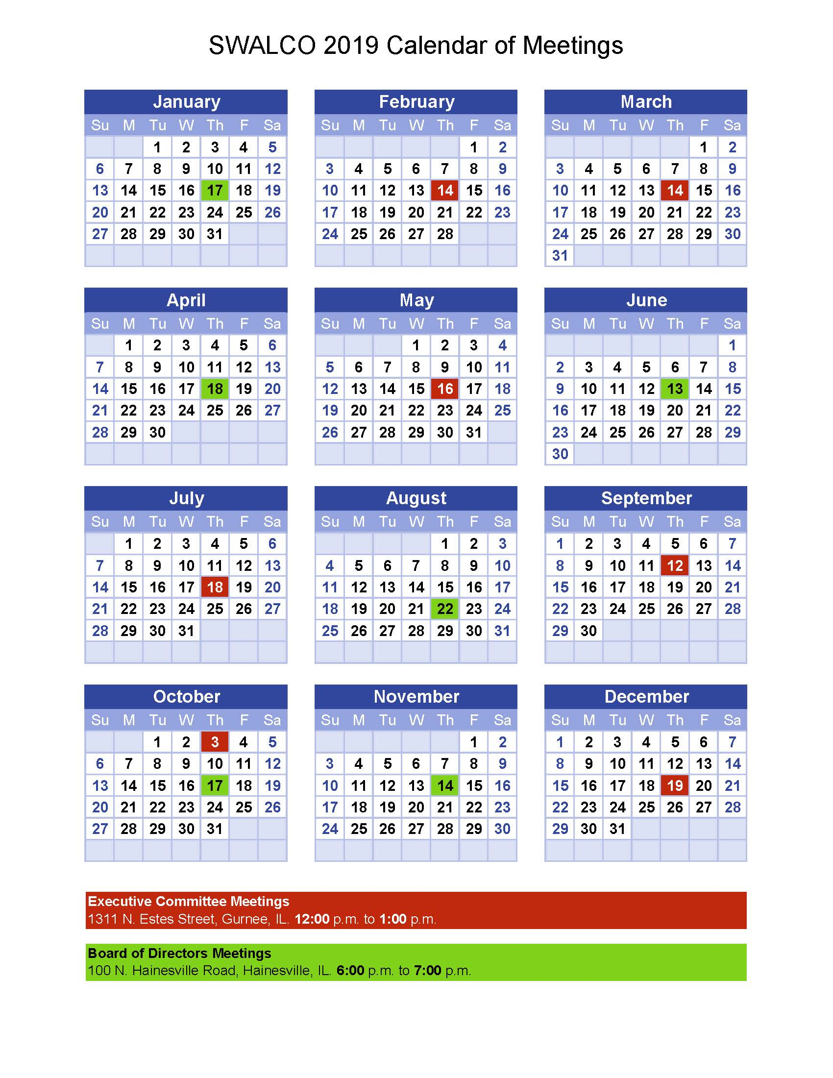 Approved Calendar of Mtgs Updated per BOD 10.18.18