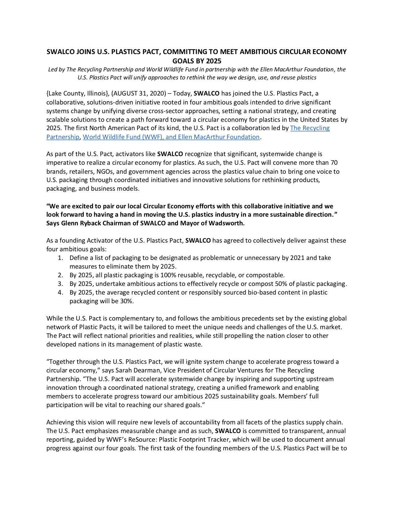 US Plastics Pact Press release